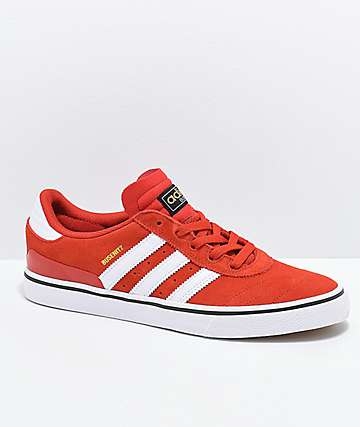 adidas Busentiz Vulc Brick Red, White & Black Shoes