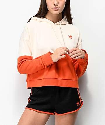adidas Colorblock Orange Crop Hoodie