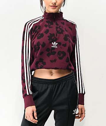 adidas Dark Floral Quarter Zip Crop Sweatshirt