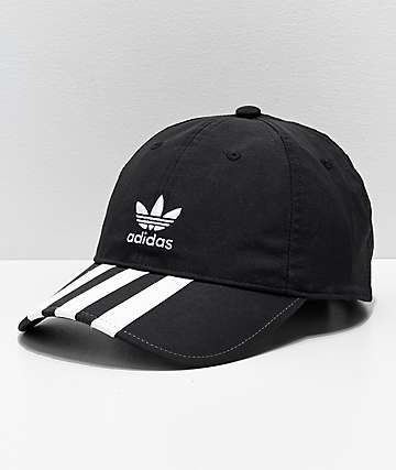 adidas Mens Relaxed Black & White Striped Strapback Hat