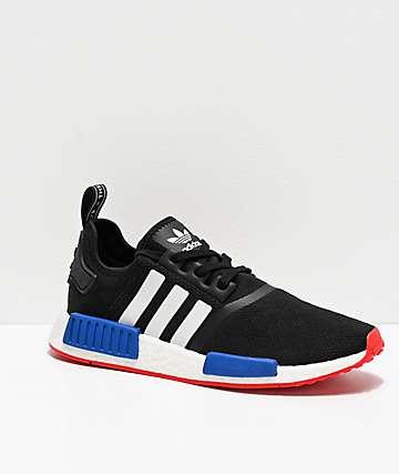 adidas NMD R1 zapatos negros, blancos, rojos y azules