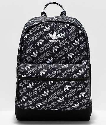 adidas National Allover Script mochila negra y blanca