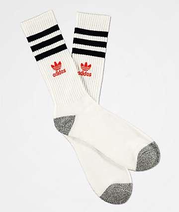 adidas Original Roller White, Navy & Amber Crew Socks