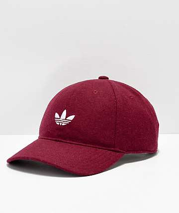 adidas Originals Relaxed Wool Burgundy & White Strapback Hat