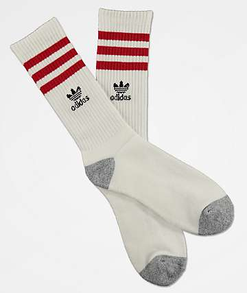 adidas Originals Roller White & Scarlet Crew Socks
