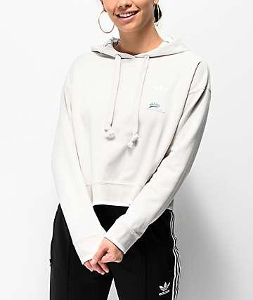 adidas Raw White Crop Hoodie