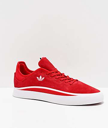 adidas Sabalo Scarlet & White Suede Shoes