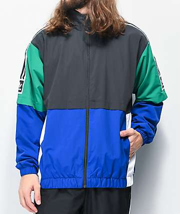 adidas Standard Black, Blue & Green Windbreaker Jacket