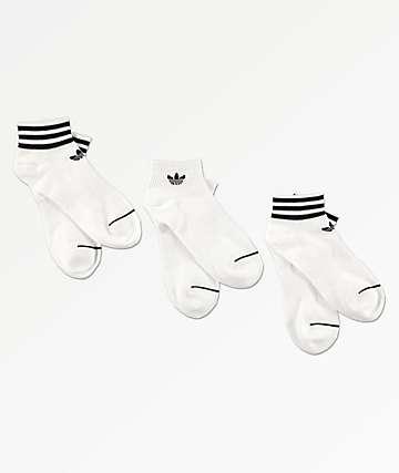 adidas White & Black 3 Pack Ankle Socks