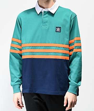 adidas Winchell Green, Navy & Orange Long Sleeve Polo Shirt