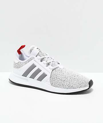 adidas Xplorer White, Heather Grey & Red Shoes