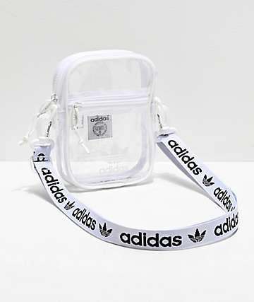 adidas bolso de hombro transparente y blanco