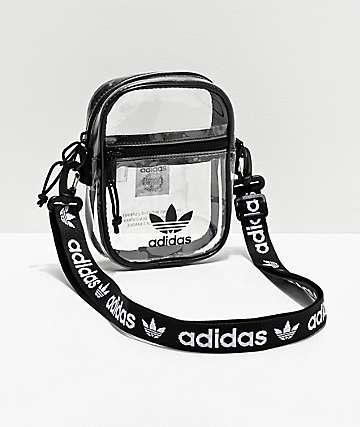 adidas bolso de hombro transparente y negro