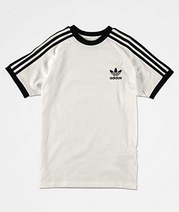 adidas camiseta blanca de 3 rayas para niños