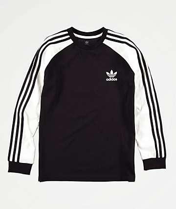 adidas camiseta negra y blanca de 3 rayas para niños