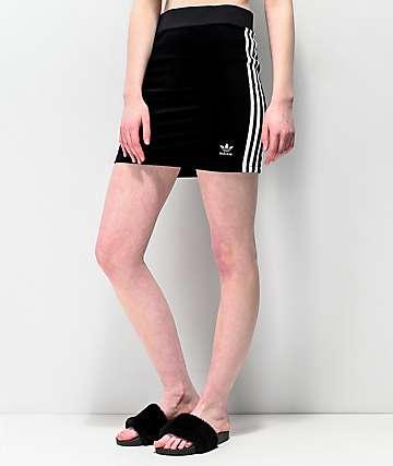 adidas mini falda negra de 3 rayas