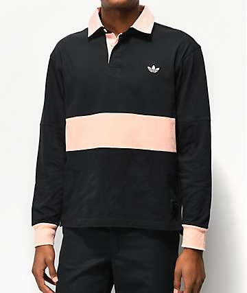 adidas x Nora Black & Glow Pink Long Sleeve Polo Shirt