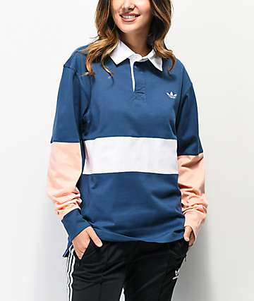 adidas x Nora Navy, Glow Pink & White Long Sleeve Polo Shirt