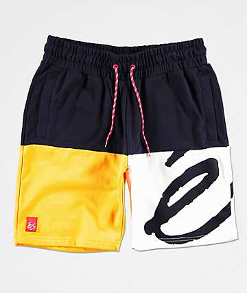 eS Split Navy, Yellow & White Sweat Shorts