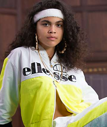 ellesse Deve Yellow, White & Black Crop Windbreaker Jacket
