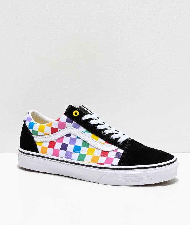 Vans Old Skool Rainbow zapatos de skate negros y blancos de cuadros