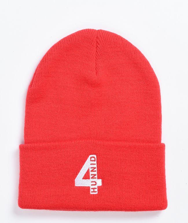 4Hunnid 4 Logo Red Beanie