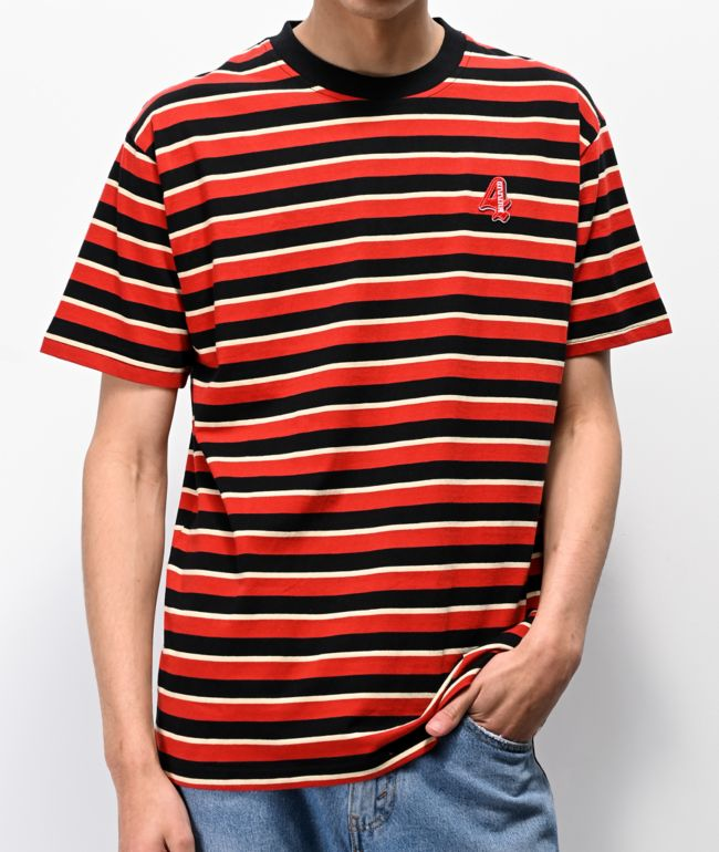 4Hunnid Red & Black Striped T-Shirt