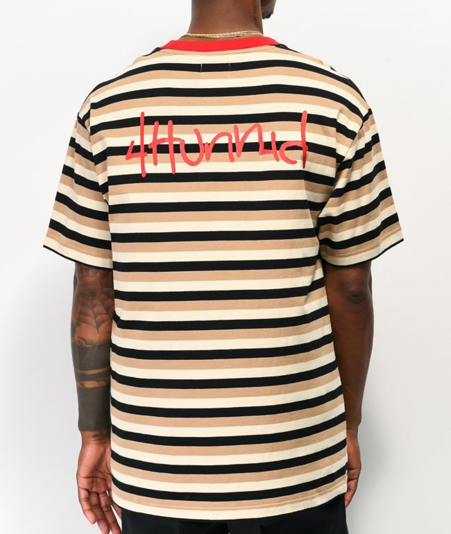 4Hunnid Striped UP Cream & Black T-Shirt