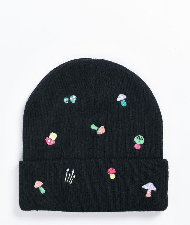 A-Lab Ellison Mushroom Embroidered Black Beanie