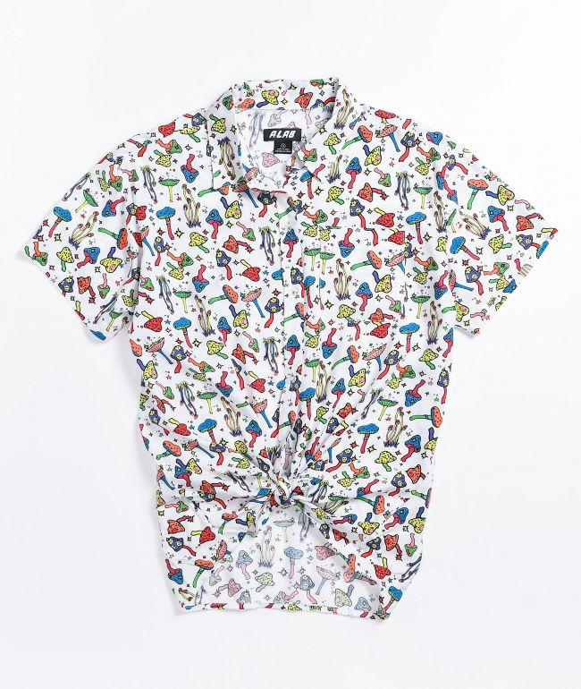 A-Lab Kilo Mushroom White Short Sleeve Button Up Shirt