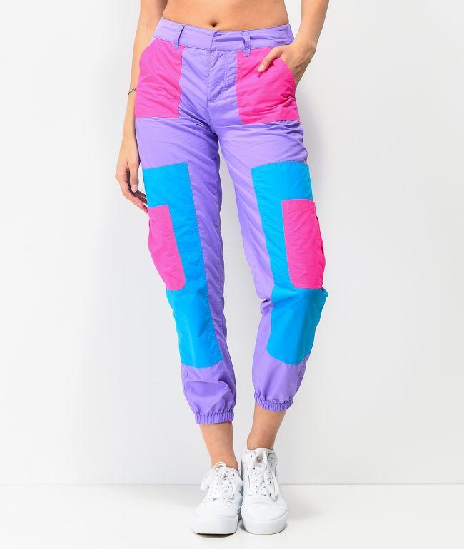 A-Lab Mega Purple & Pink Colorblock Track Pants