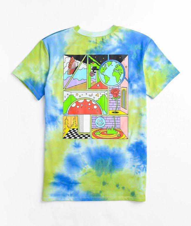 A-Lab Rainen Cartoon Rose Blue & Green Tie Dye T-Shirt