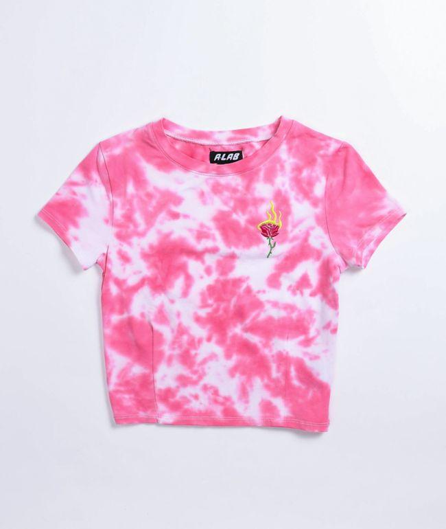 A-Lab Serina Pink Tie Dye Crop T-Shirt