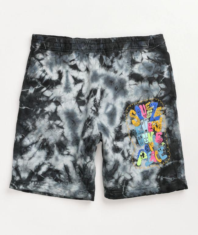A-Lab Shortie Squeeze Black Tie Dye Sweat Shorts