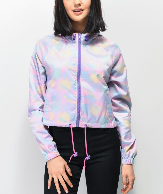 A-Lab Taja Translucent Print Crop Windbreaker Jacket