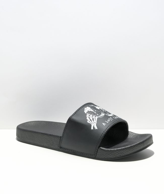 A Lost Cause Cheers Black Slide Sandals