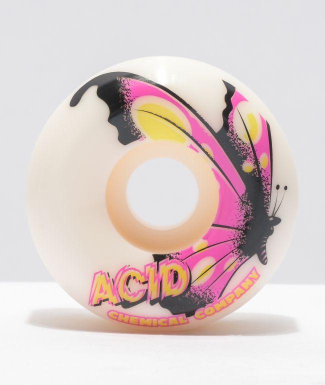 Acid Butterfly Swirl White 53mm 99a Skateboard Wheels