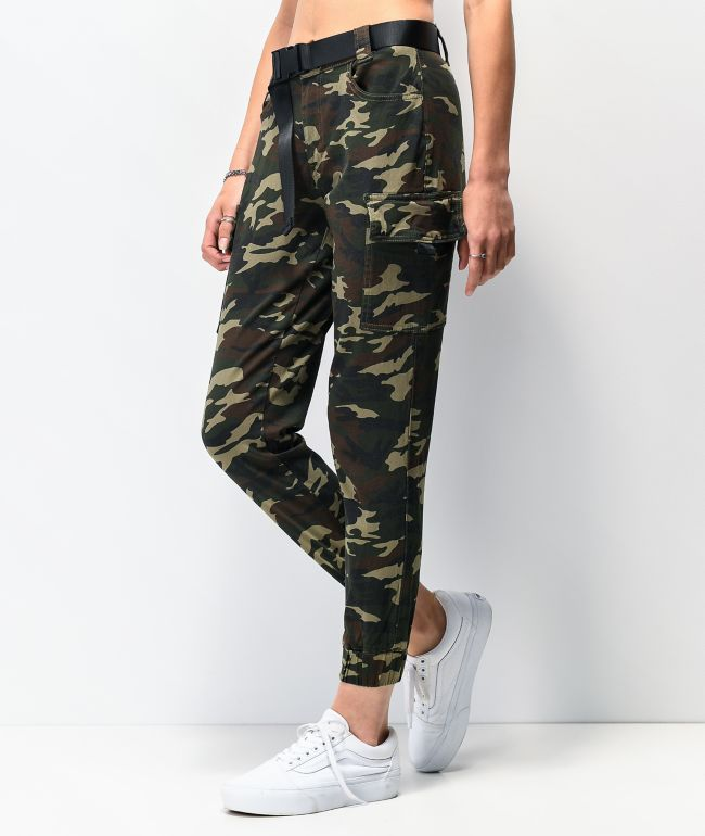 Almost Famous Belted Camo Cargo Pants