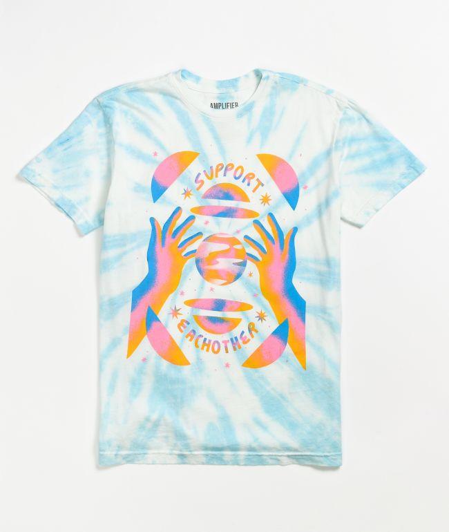 Amplifier Support Each Other Blue Tie Dye T-Shirt