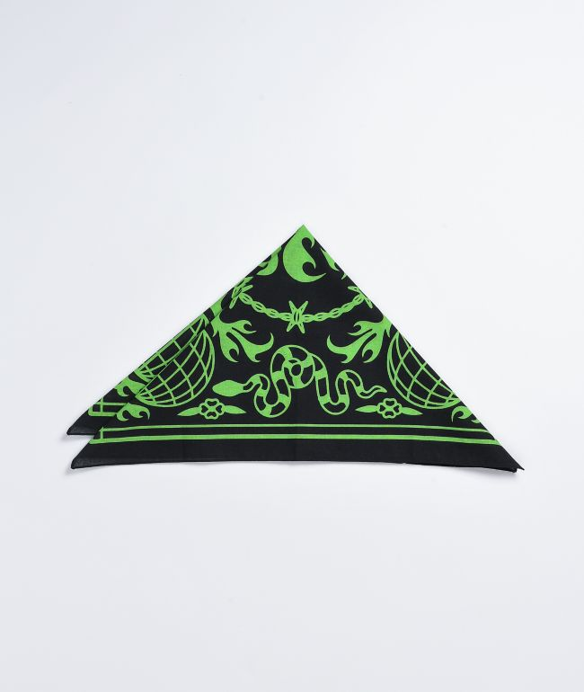 Artist Collective Globe Black & Lime Bandana