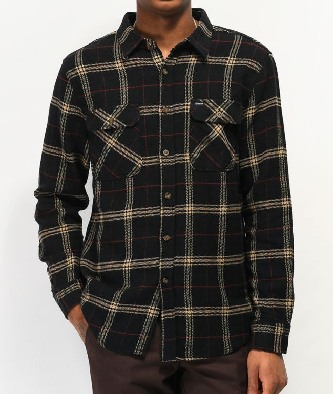 Brixton Bowery Black & Tan Flannel Shirt