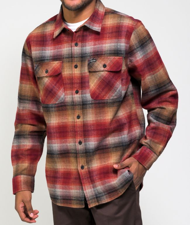 Brixton Bowery Red & Brown Flannel Shirt