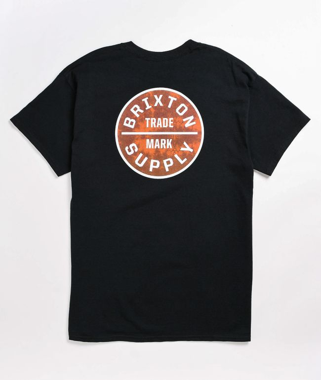 Brixton Oath Black & Stained Red T-Shirt
