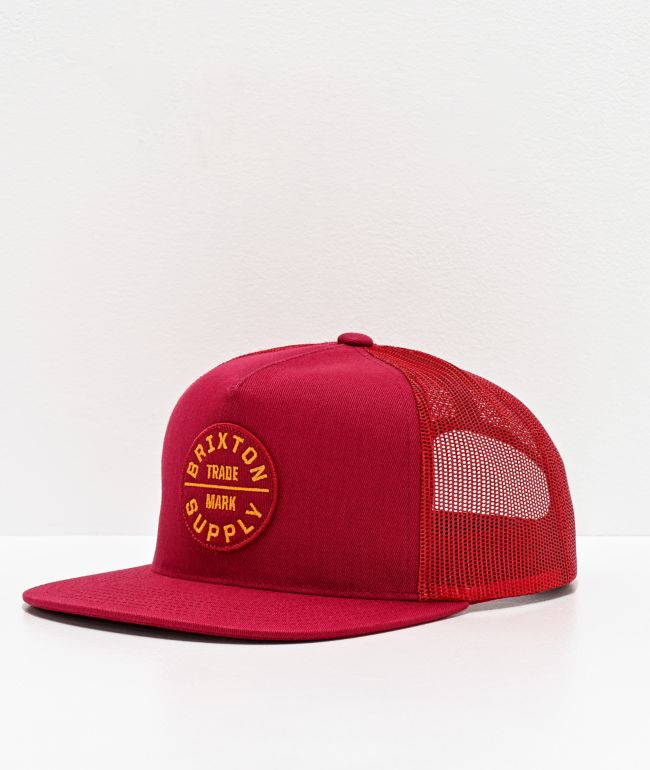 Brixton Oath III Red Trucker Hat