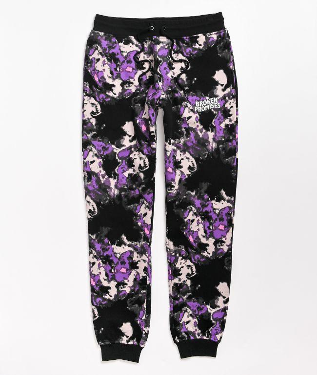 Broken Promises Pyromaniac Black & Purple Sweatpants