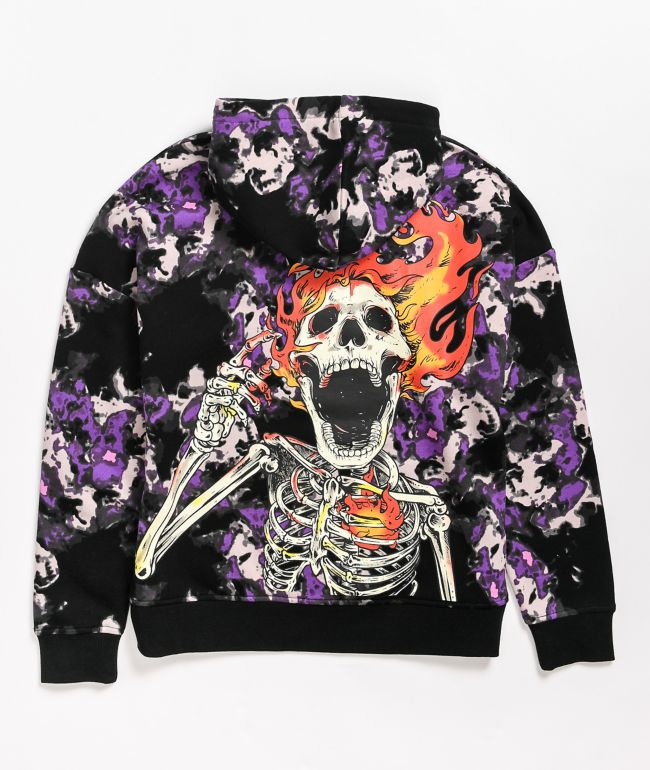 Broken Promises Pyromaniac Black & Purple Tie Dye Hoodie