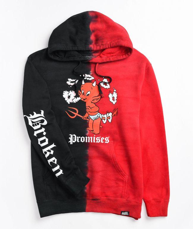 Broken Promises x Hot Stuff Heart Shaped Black & Red Split Dye Hoodie