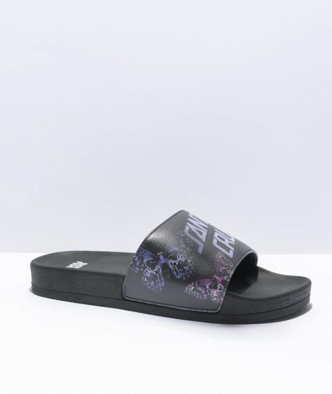 Broken Promises x Santa Cruz Flutter Black Slide Sandals