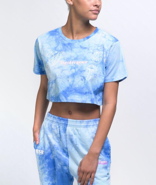By Samii Ryan Daydreamer Blue Tie Dye Crop T-Shirt