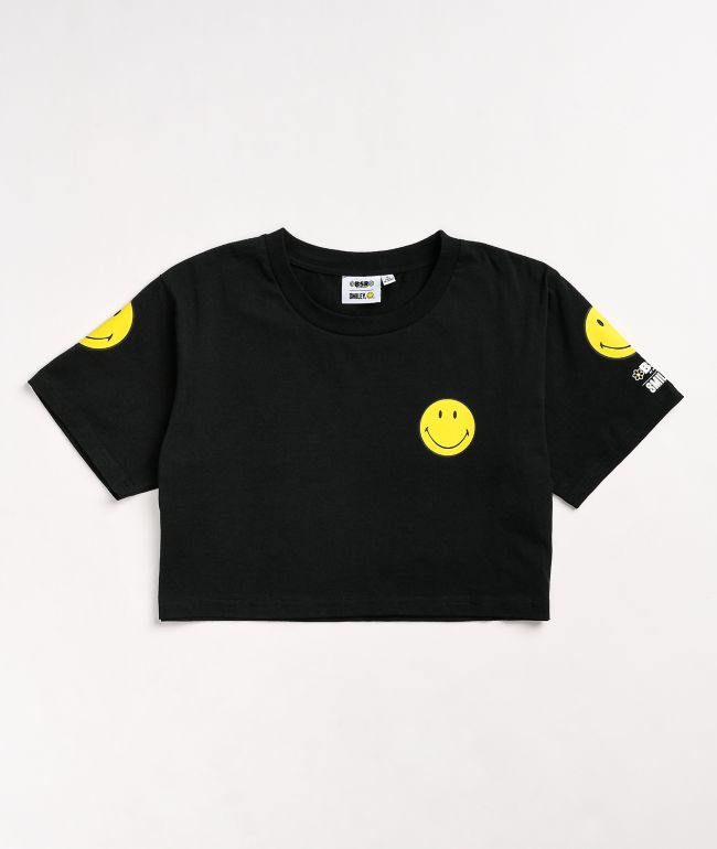 By Samii Ryan x Smiley Smile For Me Black Crop T-Shirt
